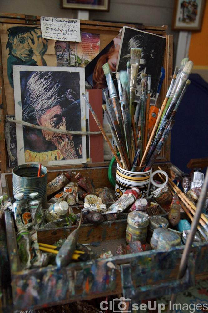 CloseUp image of a artist painter's pallet